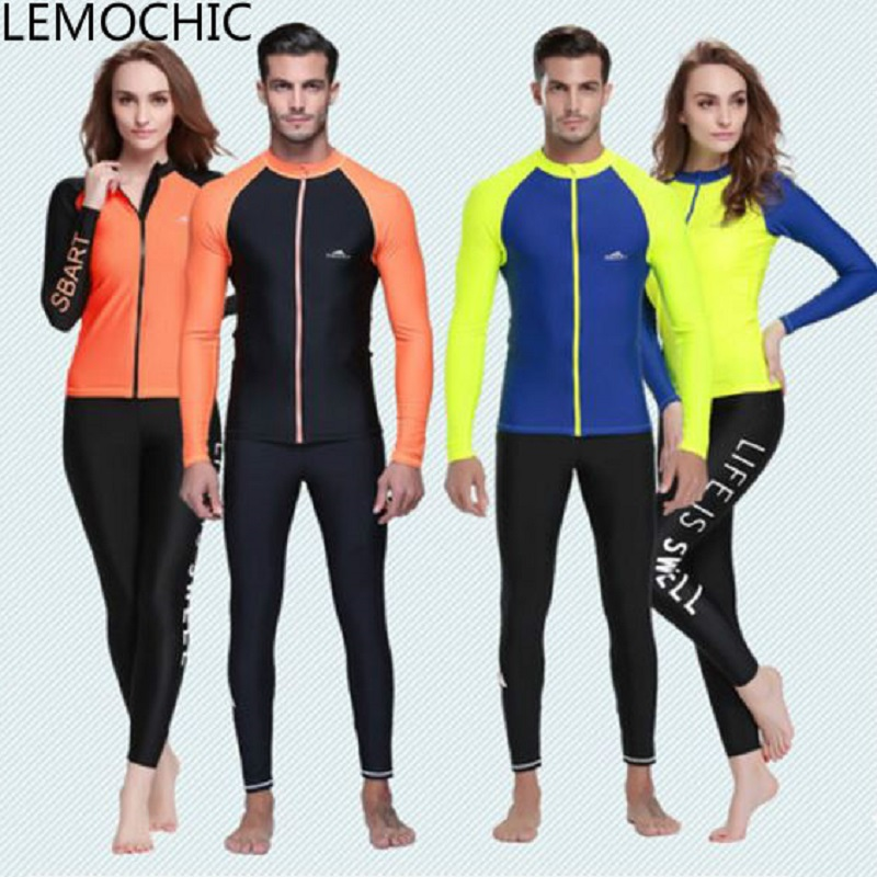ФОТО High quality Men's women's long sleeved jacket sunscreen swimsuit surf snorkeling suit Split  jellyfish body suit diving suit