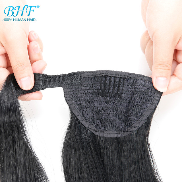 Ponytail Human Hair Machine Remy Straight European Ponytail Hairstyles 60g 100% Natural Hair Clip in Extensions by BHF 3