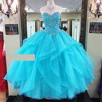 Quainceanera платья для женщин 2019 бальное платье Шик бисером кристаллы Quinceanera индивидуальный заказ из органзы