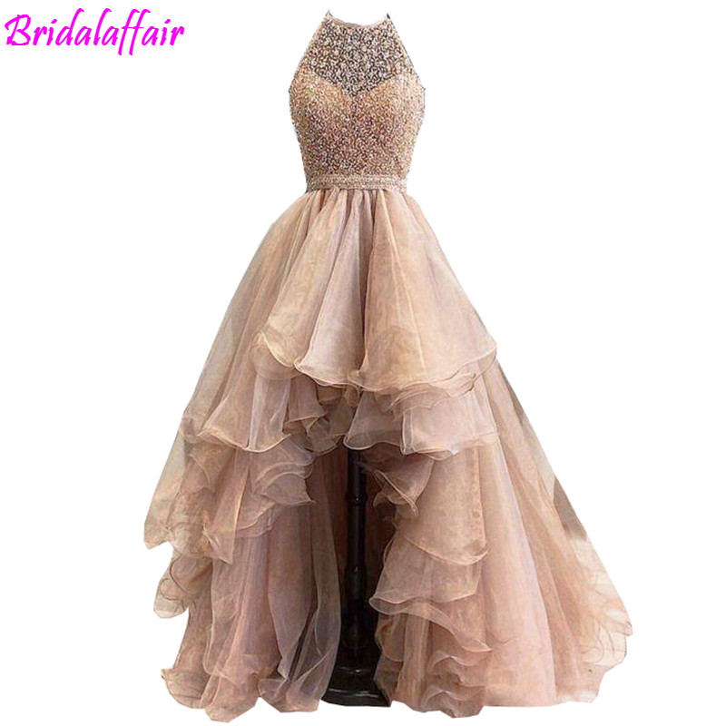 <font><b>Rose</b></font> <font><b>Gold</b></font> High Low 2017 A line Prom Dresses Lace Jewel Illusion Sweetheart Beaded sleeveless Tulle Tiered <font><b>Skirts</b></font> evening gowns image