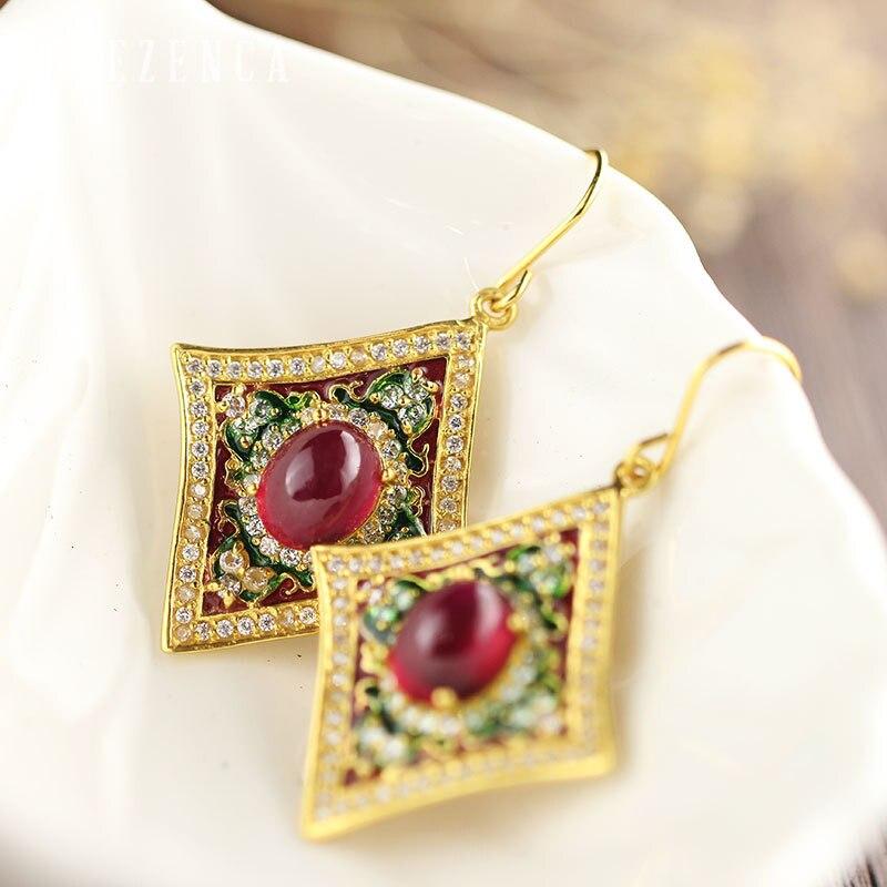 925 Sterling Thai argent pierre gemme rubis cloisonné couleur boucles d'oreilles à la main artisanat bijoux fins femmes Vintage luxe boucle d'oreille