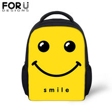 FORUDESIGS Funny Small School Bags For Baby Girls Boys emoji Smile 12 inch Backpack Children Kids Kindergarten Yellow Schoolbag
