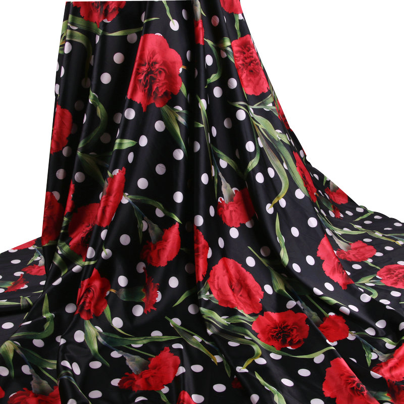 5a323636644 Best buy red flowers dot printed Soft party Dress cloth Material