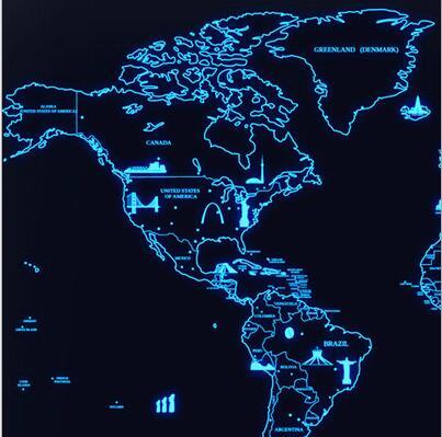 2017 Vendita Calda di lusso Luminoso Adesivo Da Parete Mapa Vita Viaggio Mappa Del Mondo Mappa Creativo Scratch Map World Edition Mappa