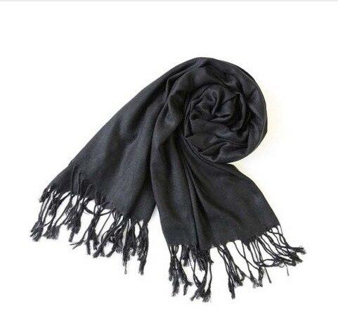 fashion black Womens Winter Warm Cashmere Silk Solid Long Pashmina Shawl Wrap Scarf Stylish Gift