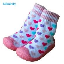 2016 Babysokker med gummisåler børn toddler sko sokker Bomuld Babysokker Sko Nyfødt Anti Slip
