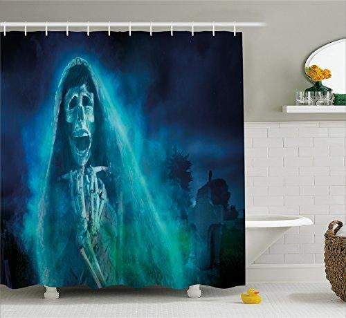 "72x72/""Horror Bathroom Polyester Fabric SHOWER CURTAIN Bath MAT 12HOOK 1423"