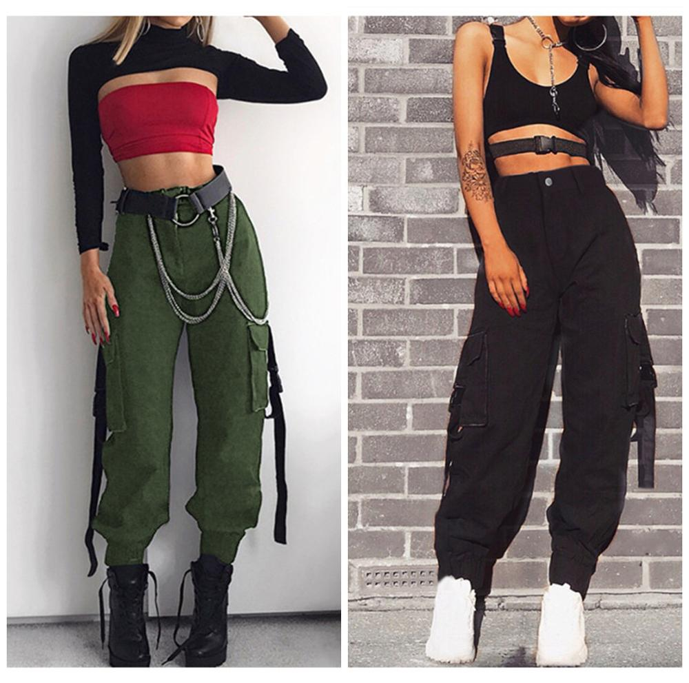Streetwear Cargo   Pants   Women Casual Joggers High Waist Loose Female Trousers Korean Style Ladies Ankle-length   Pants     Capri   PT001
