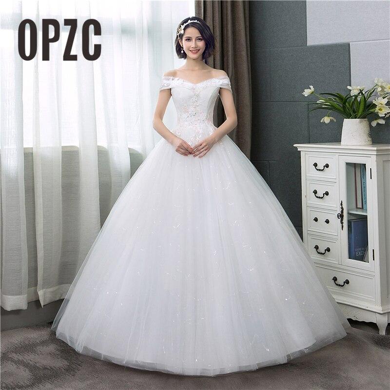 Boat Neck Lace Wedding Dress 2018 New Fashion Pink Floral Print Princess Dream Bride Off The Shoulder Korean Vestido De Noiva C