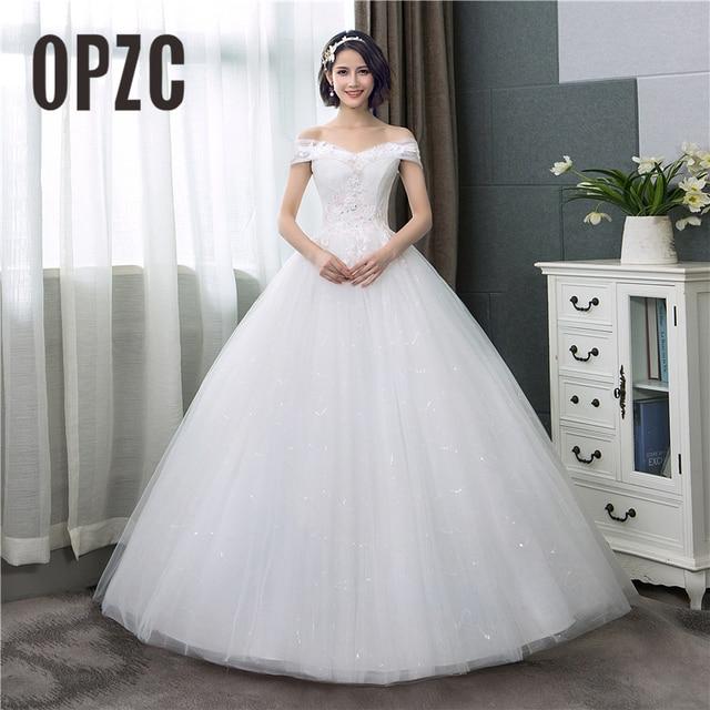 Barco pescoço Vestido de Noiva de Renda 2018 Nova Moda Estampa floral Rosa Sonho da princesa vestido de noiva vestido de Noiva fora do ombro Coreano C