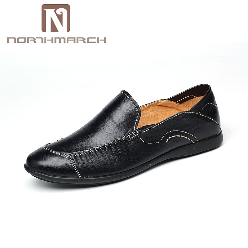NORTHMARCH Italian Mens Shoes Casual Brands Genuine Leather Men Loafers Luxury Moccasins Comfy Breathable Slip On Boat Shoes Men new casual shoes winter fur men loafers 2017 slip on fashion drivers loafer boat shoes genuine leather moccasins plush men shoes