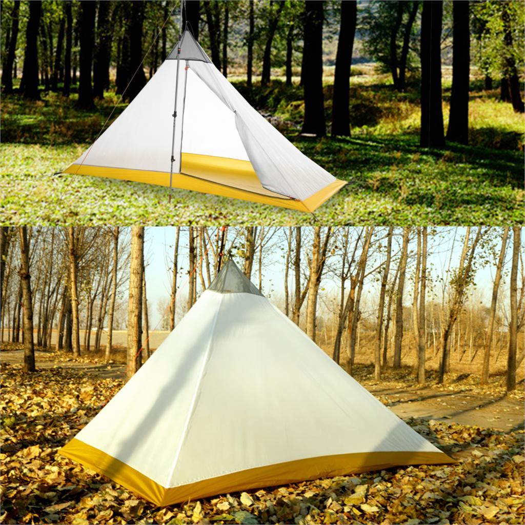 620g ultra-léger 2 personnes 40D Nylon revêtement en silicone tente intérieure extérieure 4 saisons Camping tente sans tête pyramide chapiteau grande tente