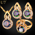 U7 Brand Luxury Cubic Zirconia Engagement/Wedding Jewelry Sets Gold Plated CZ Earrings Ring Pendant Necklace Set Women Gift S799