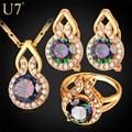 U7 marca de luxo cubic zirconia noivado/casamento conjuntos de jóias banhado a ouro cz anel brincos colar pingente set mulheres presente s799