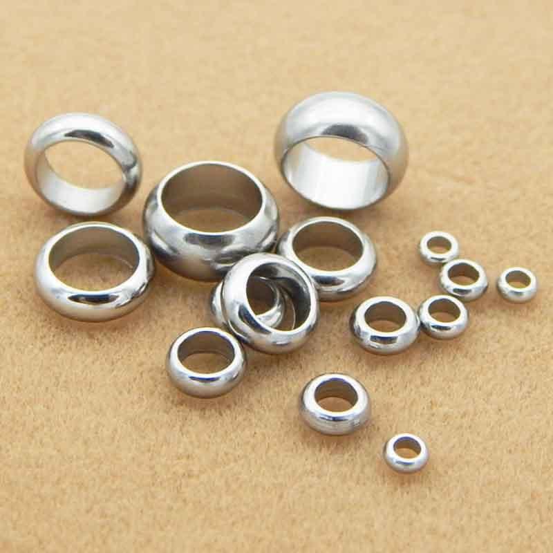 100 perles despacement rondes en acier inoxydable, grand trou de 2mm, 3mm, 4mm, 5mm, 6mm, 8mm, rondelles pour fabrication de Bracelet à faire soi-même, pièces/lot