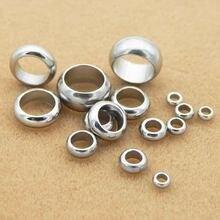 Perles rondes en acier inoxydable, 100 pièces/lot, pour la fabrication de bracelets, grand trou, 2mm, 3mm, 4mm, 5mm, 6mm, 8mm