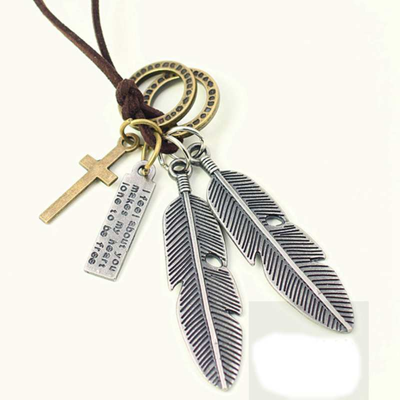 Factory Directe kettingen en punkers Punk Jewelry Men Women Leather Necklace Feather Pendant Fashion Vintage Collares Collares