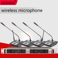 Wireless Microphone System 402GT Professional 4 Channel UHF Dynamic Conference Gooseneck Desktop