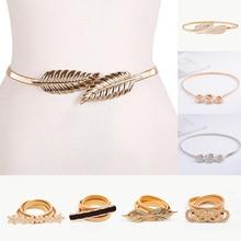 Эластичные ремни для женщин и девушек, тянущийся пояс на талию, Цветочный Пояс в форме листа, Свадебный дизайнерский металлический женский пояс, cinturones para mujer