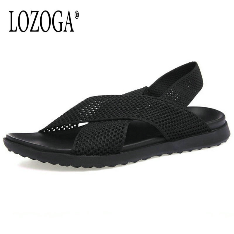 Lozoga New Mens Sandals Luxury Brand Sandals Summer Shoes Mesh Handmade High Quality Black Slipper Italy Designer Beach Sandals