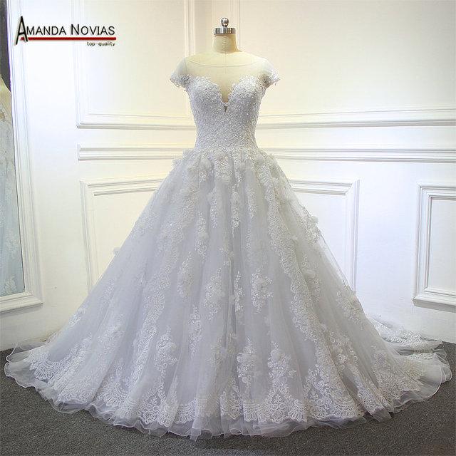 2017 Hot Heavy Lace Beading Man Made Flower Long Train Wedding Dress Vestido De Novia