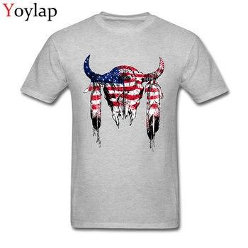 Camiseta para hombre con estampado de estrellas y rayas en azul y rojo de Bison, camisetas clásicas de manga corta de algodón 100% para hombre