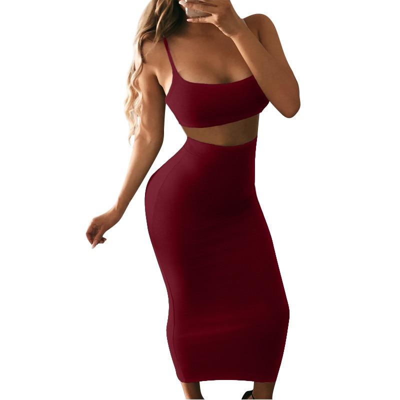 Casual Women Crop Top Skirt Two Piece Set Sexy Slim Solid Color Female Set Night Club Wear Slash Neck Lady Set