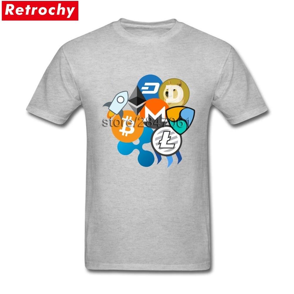 T-shirt Bitcoin Ripple Ethereum Litecoin Dash Monero Cryptocurrency Men T Shirt Short Sleeve O-neck Brand Clothing