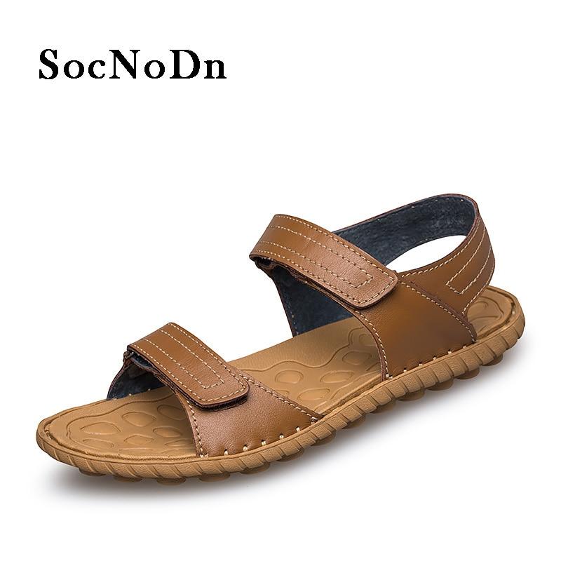SocNoDn Men Leather Sandals Genuine Leather 2018 Summer Casual Shoes Man Outdoor Walking Footwear Breathable Sandals