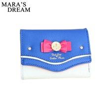 Mara's Dream, Женский кошелек Сейлор Мун, женские короткие кошельки, женские яркие цвета, с бантом, из искусственной кожи, для карт, кошелек, клатч, Новинка