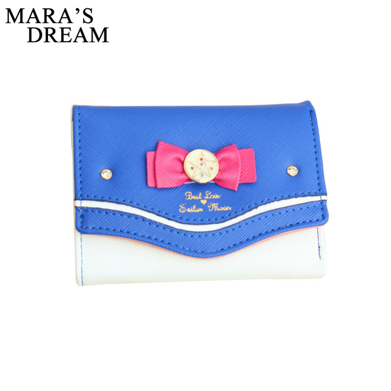 Mara's Dream 2019 Sailor Moon Wallet Women Lady Short Wallets Female Candy Color Bow PU Leather For Card Purse Clutch Bag New