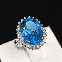 Natural blue topaz stone ring Real 925 sterling silver rings Platinum plated lady women big gem jewelry