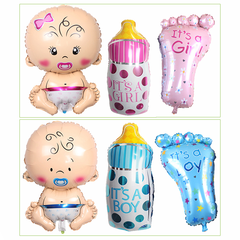 Baby Feeding Bottle Foot Kids Happy Birthday Party Decoration Balloons Children Infant Birth Anniversary Day Decor Ballons