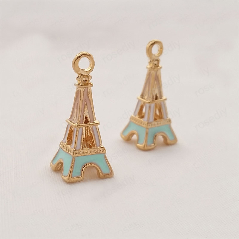 2PCS 23*9MM Champagne Gold Color Plated Zinc Alloy Oil Paintings Eiffel Tower Charms Diy Handmade Findings