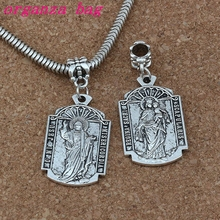 50pcs/lot Dangle Ancient silver O MI Jesus Misericordia Medal Religion Charm Big Hole Beads Fit European Bracelet Jewelry