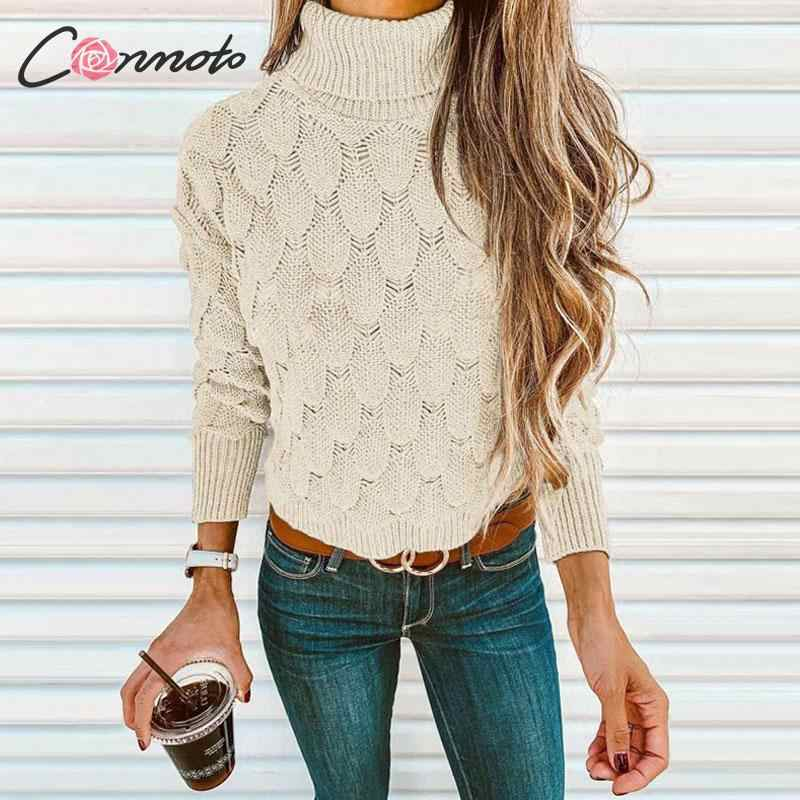 Conmoto Turtleneck Sweater Women Autumn Winter 2019 Knitted Sweaters Jumper Solid Grey Knitwear Casual Pullovers Femme Plus Size