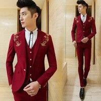 ( Jacket + Vest + Pants ) New 2018 Men's Boutique Embroidery Fashion Groom Wedding Dress Suits / Male Slim Social Business Suits