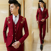 ( Jacket + Vest + Pants ) New 2018 Men's Boutique Embroidery Fashion Groom Wedding Dress Suits / Male Slim Social Business Suits