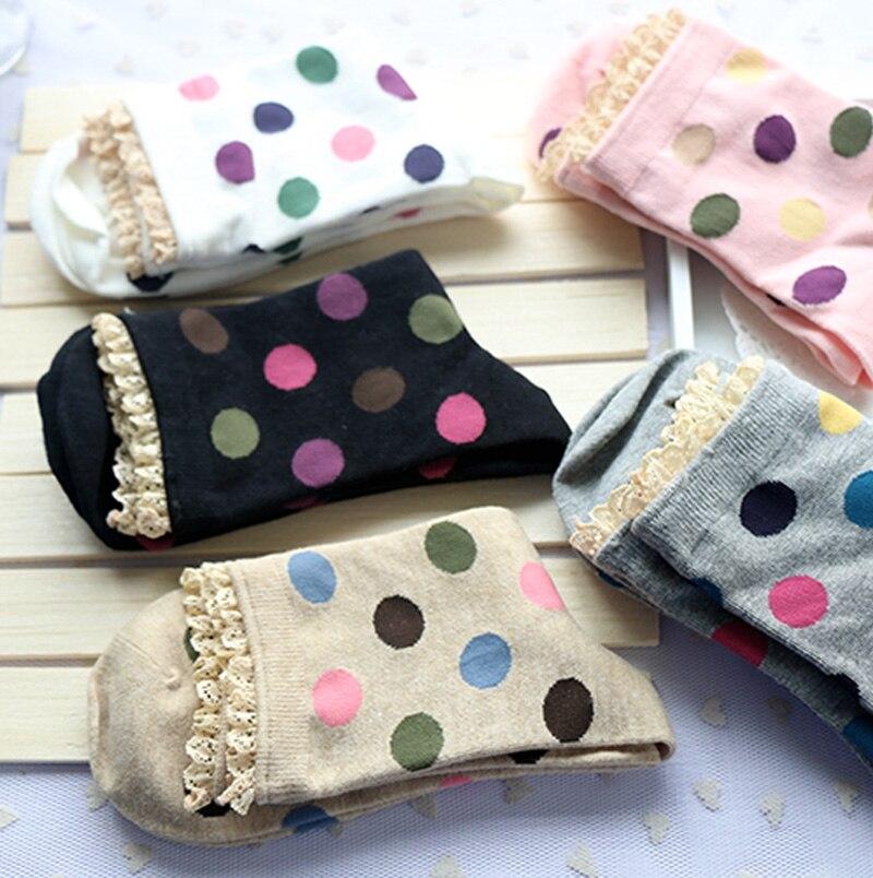 5 Pairs/Lot Woman Polka Lace Cute Dot Vintage Thick Short Socks Students Harajuku Style Cotton Rainbow Color Calcetines Mujer