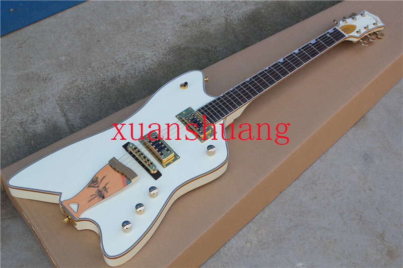 High quality White Gretsch guitar electric Thunderbird Reverse FSR Billy-Bo Jupiter Grover tuner With Golden Hardware -17-11-11