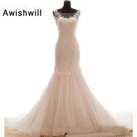Real Photo Elegant Beading Appliques Lace Mermaid Wedding Dresses 2018 Sexy Sleeveless Trumpet Bridal Gown Custom