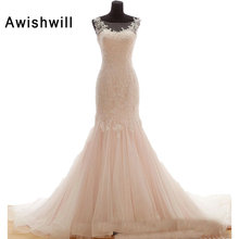 Awishwill Real Photo Mermaid Wedding Dresses Sleeveless