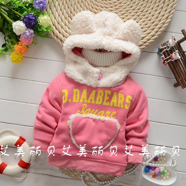 Novo 2015 Outono e inverno meninas Dos Desenhos Animados resistência ao Frio Com Capuz roupa do bebê das Crianças frete grátis