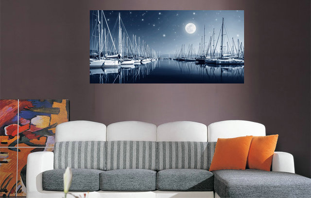 Marvelous Large Canvas Painting Moonlight Wharf Landscape Wall Picture Prints For  Home Decor Living Room Paintings Poster