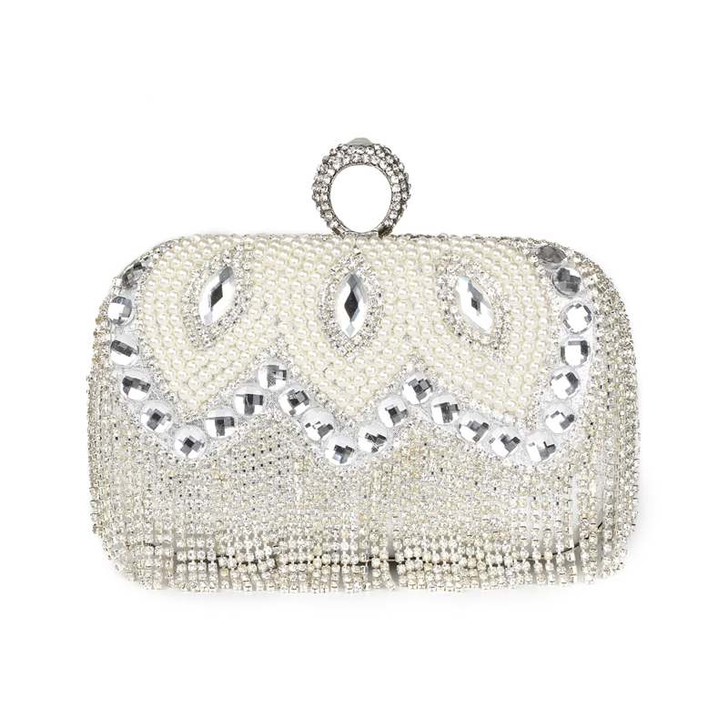 ФОТО 2017 womens clutch diamond tassel ring evening bags pearl hard bling day clutches bridal mini party handbag silver bags 814t