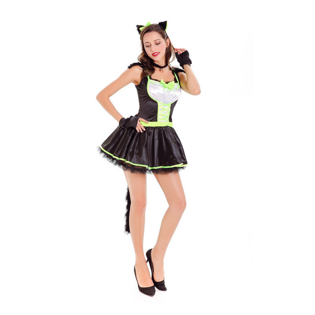 2017 Hot Halloween Costumes for Adult Cat Girl Prom Animal ...