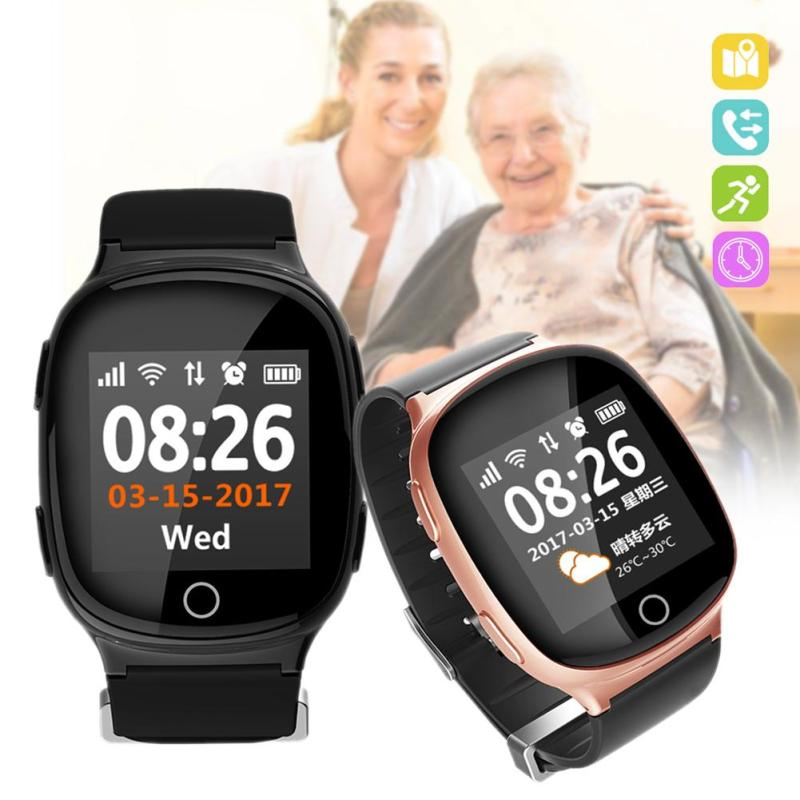 цена на Elderly Smart Watch Anti-Lost GPS+LBS+WiFi Tracking SOS Alarm Watch For Old Men Women IOS Android LCD Screen Call Reminder Watch