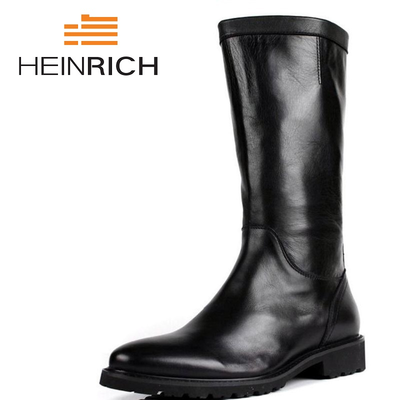HEINRICH Mid-Calf Motorcycle Men Boots Genuine Leather Winter Shoes Male Botas Hombre High Top Men Shoes Sapatos MasculinoHEINRICH Mid-Calf Motorcycle Men Boots Genuine Leather Winter Shoes Male Botas Hombre High Top Men Shoes Sapatos Masculino