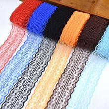 Wholesale cheap 10 yards/Lot lace ribbon 45mm wide african fabric white DIY embroidered trim sewing Wedding decoration