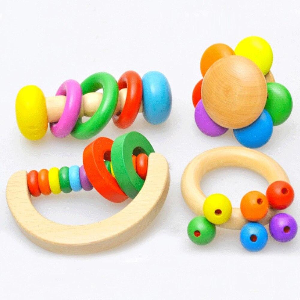 1 Stück Kind Baby Toys Glocke Holz Rassel Spielzeug Handbell Musical Bildungs Instrument Kleinkinder Rasseln Griff Baby Spielzeug Niedriger Preis